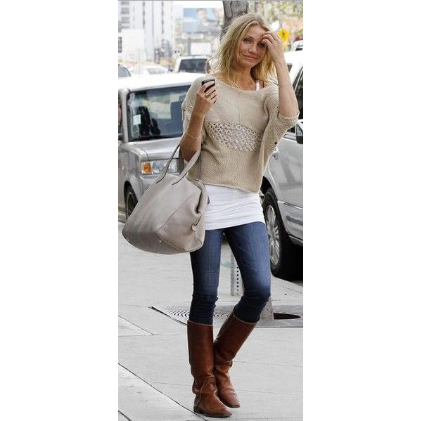 Cameron Diaz in Tall Brown Riding Boots