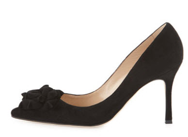 Manolo Blahnik Lisa Suede Flower 90mm Pump, Black