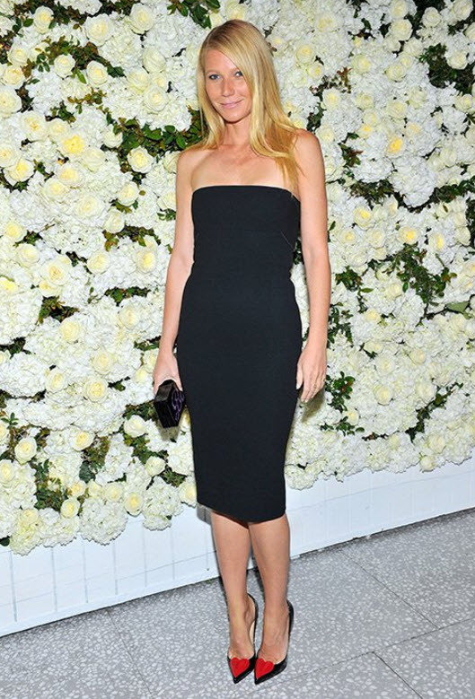Gwyneth Paltrow LBN in Christian Louboutin	 Red Heart Heels