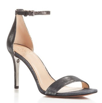 Tory Burch Classic Metallic Ankle Strap High Heel Sandal