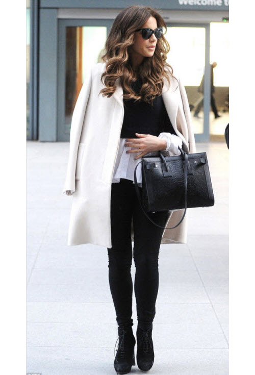 Kate Beckinsale Wears a Shirttail Sweater
