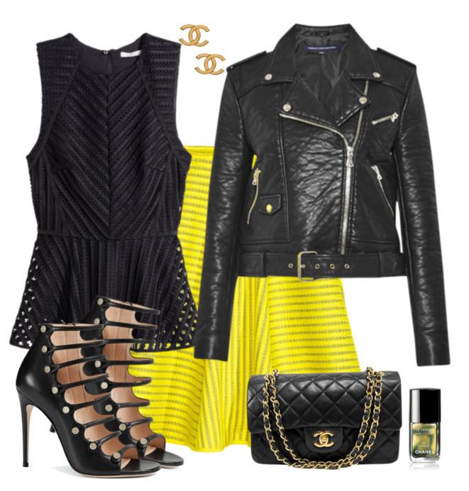 Black Moto with Pop of Yellow