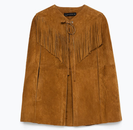 STUDIO CAPE WITH LEATHER FRINGING by Zara