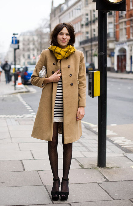 Alexa Chung Striped dress, over coat and yellow plaid scarf