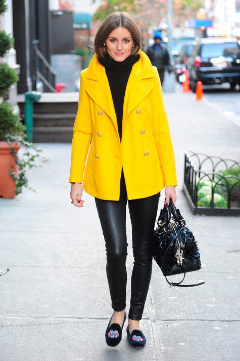 Olivia Palermo in Bright Yellow Peacoat and Leather leggings