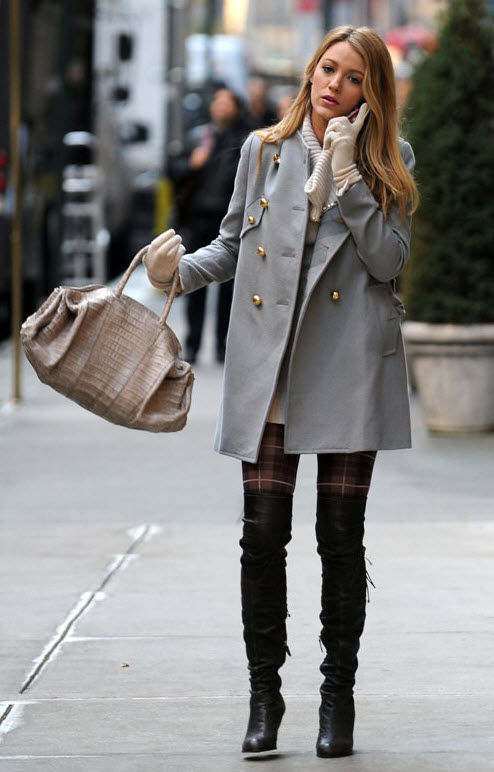 Blake Lively in Over the Knee Boots and Plaid Tights