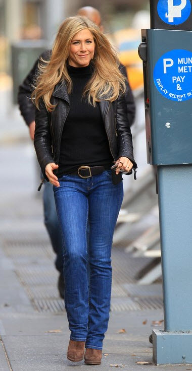 Jennifer Aniston in Jeans, wedge booties and moto jacket