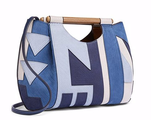 DOWEL PATCHWORK ROUND TOTE by Tory Burch