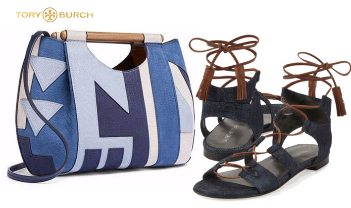 Dowel Patchwork Tote by Tory Burch with Stuart Weitzman Gladiator's