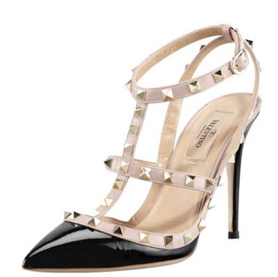 Valentino Rockstud Patent Sandal, Black