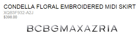 BCBG CONDELLA FLORAL EMBROIDERED MIDI SKIR