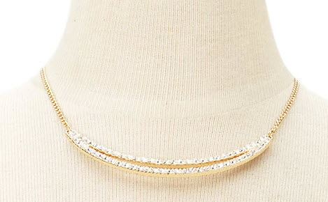 Rhinestone Curved-Bar Necklace