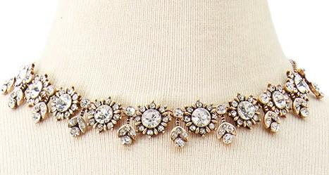 Rhinestone Flower Statement Necklace