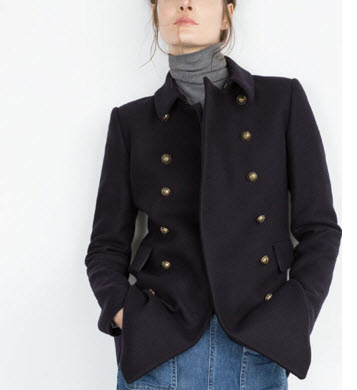 Short Double Breasted Coat by Zara