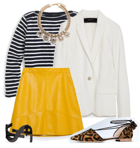 Mustard Aline Skirt with Stripes