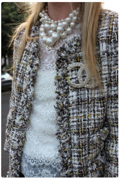 Tweed Jacket with Chanel brooch