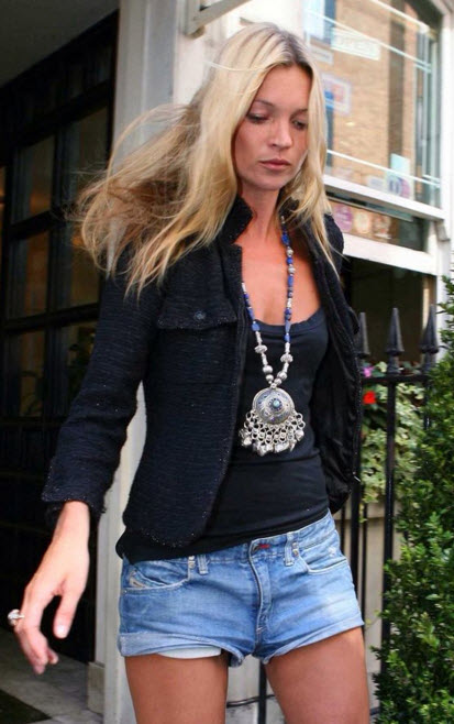 Kate Moss in Chanel Tweed Jacket and Denim Shorts