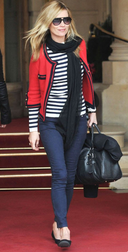 Kate Moss in Chanel Tweed Jacket and striped Tee Shirt