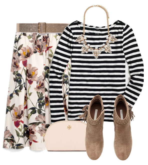 Floral Midi Skirt with Striped Tee