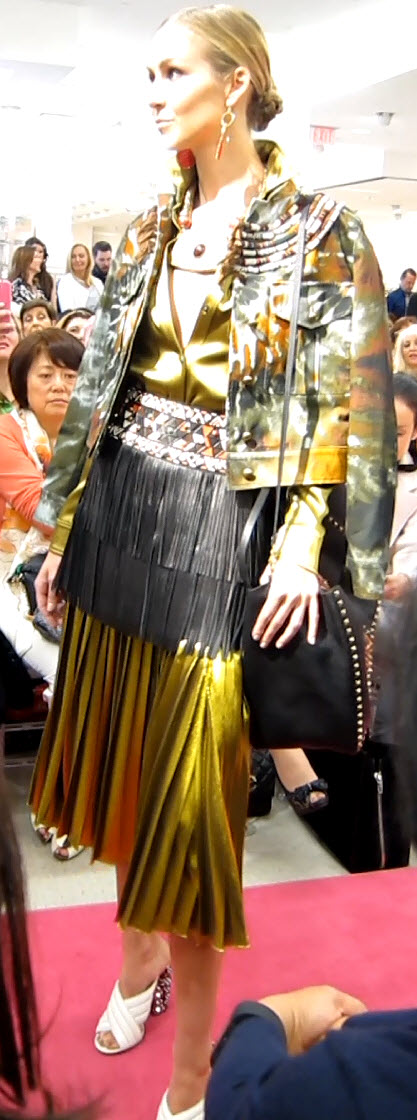Pleated Gold Skirt and Black Fringe Skirt