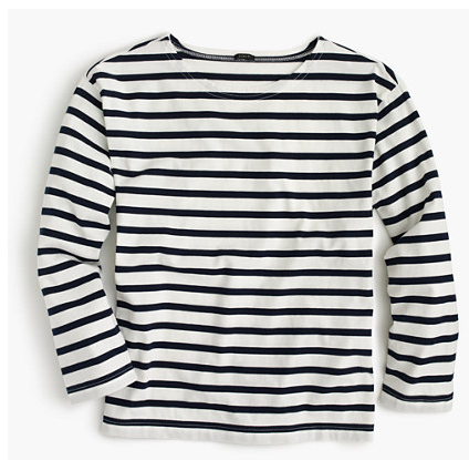 LONG-SLEEVE STRIPED CREWNECK T-SHIRT by JCrew