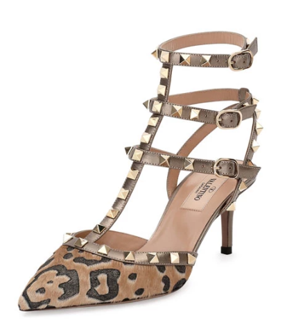 Valentino Rockstud Calf-Hair 65mm Pump, Fucile/Al Campion