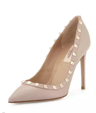 Valentino Rockstud Leather 100mm Pump, Powder (Poudre)