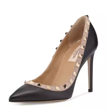 Valentino Rockstud Leather 100mm Pump, Nero/Poudre