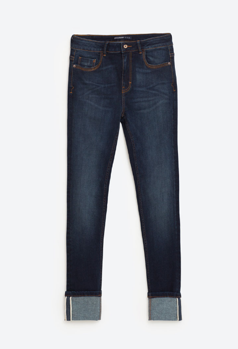 MID-RISE CUFFED SKINNY JEANS