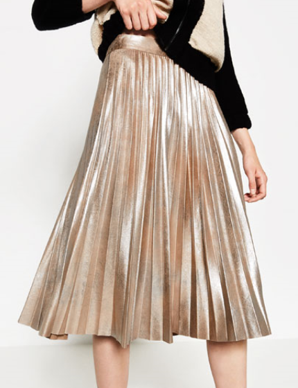 METALLIC FINE PLEATED SKIRT $70