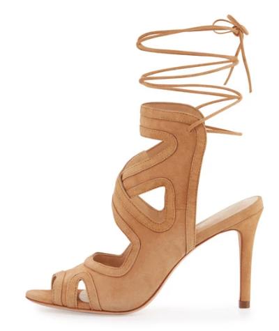 Loeffler Randall Delfine Suede Lace-Up Sandal, Almond
