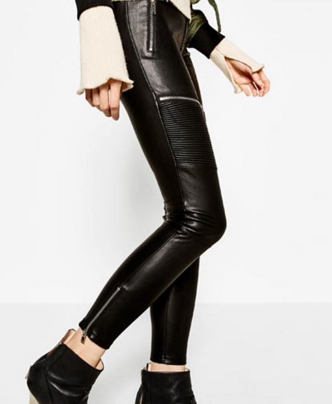 FAUX LEATHER BIKER TROUSERS