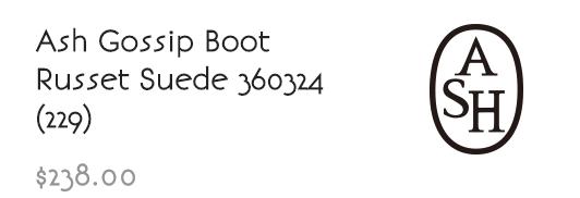 Ash Gossip Boot Russet Suede 360324