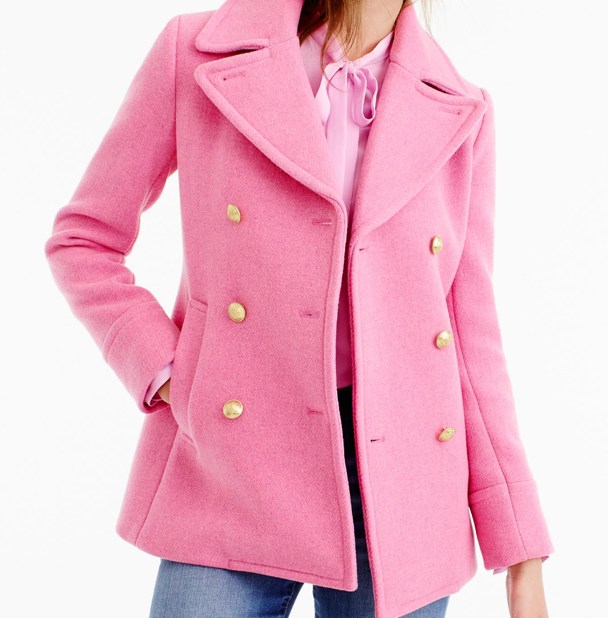 J.CREW Majesty Peacoat in Heather Peony