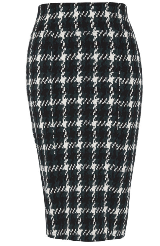 HOUNDSTOOTH PONTE PENCIL SKIRT by Melissa McCarthy Seven7