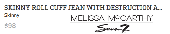 Skinny Roll Cuff Jean with Destruction and Lace at Melissa McCarthy Seven7