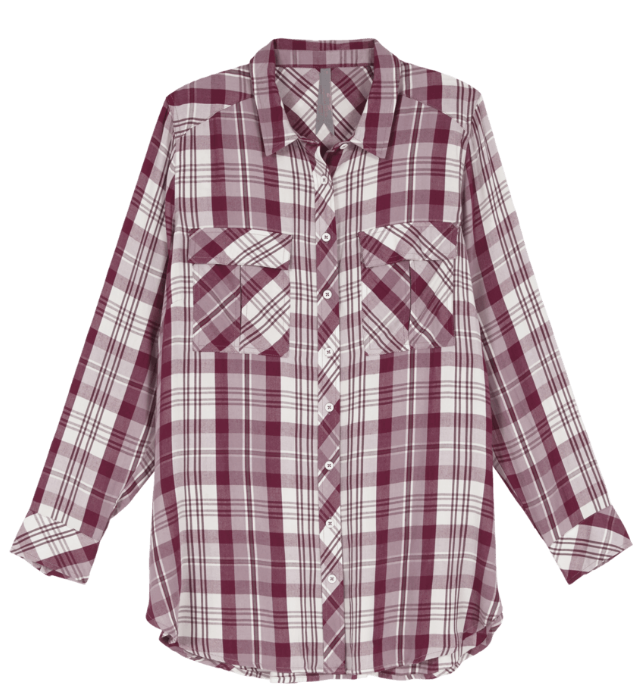 BUTTON UP PLAID SHIRT by Melissa McCarthy Seven7