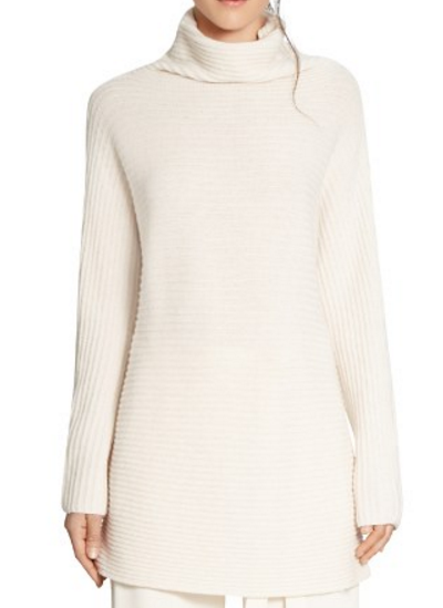 HALSTON HERITAGE Turtleneck Rib Knit Sweater