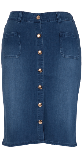 DENIM BUTTON FRONT SKIRT by Melissa McCarthy Seven7