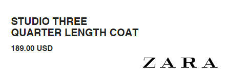 Zara STUDIO THREE QUARTER LENGTH COAT