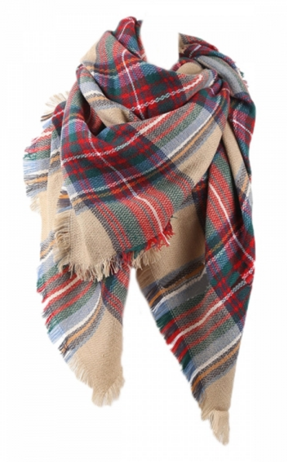 Pretty Warm Winter Colorful Plaid Scarf Red by Pink Queen