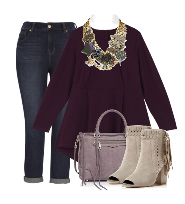 12+ Ponte Peplum Top with Dark Denim