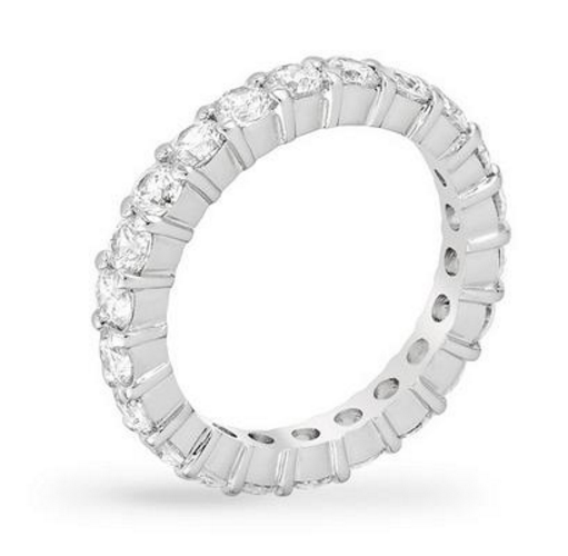 Bauble Box Caroline 4.1ct CZ White Gold Rhodium Classic Eternity Band $ 22.00 Compare at: $ 80.00