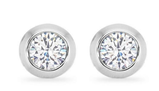 Bauble Box Kerry 2ct CZ White Gold Rhodium Stud Earrings $ 17.00 Compare at: $ 45.00
