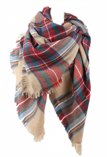 Womens Pretty Warm Winter Colorful Plaid Scarf Red $11