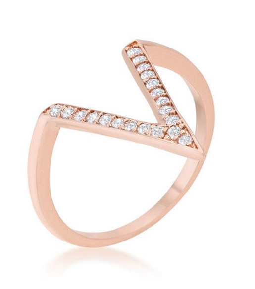 BAUBLE BOX Michelle 0.2ct CZ Rose Gold Delicate V-Shape Ring $ 14.00 Compare at: $ 55.00