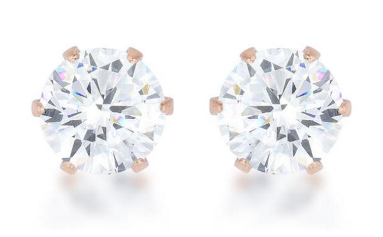 BAUBLE BOX  Reign 3.4ct CZ Rose Gold Stainless Steel Stud Earrings $ 12.00 Compare at: $ 25.00