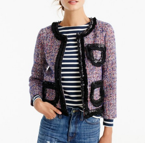 J.CREW Tweed lady jacket with sparkly trim item F9250 $268.00 40% off with code HOLIDAY