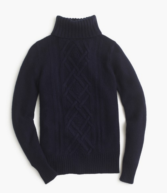 J.Crew Cambridge cable turtleneck sweater item B2795 3.9 / 5 85 reviews $98.00 40% off with code HOLIDAY