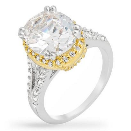 Bauble Box Jasmine 5.5ct CZ Two-Tone Classic Statement Ring $ 28.00